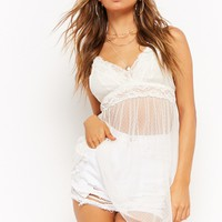 Sheer Lace-Trim Cami