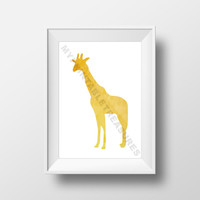 Safari Nursery Art , Giraffe Wall Decor , Safari Baby Shower Gift , Instant Download , Animal Watercolor Print