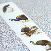 Vintage peacocks bookmark.Art Deco peacock lovers.Book lover gift. Unique Bookmark.Bibliophile Gift.Bookworm Party.Book Club Gift.Exotic.
