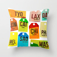 Travel Tags Throw Pillow by The Pairabirds | Society6