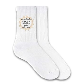 Your Word is a Lamp to Guide You Psalm 119:105 - Faith and Inspiration Crew Socks - Ladies White Size 9-11