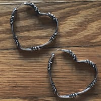 Large Barbed Wire Heart Hoop Earrings