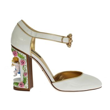 Dolce & Gabbana White Leather Puppi Doll Mary Janes Pumps