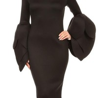 Techno Knit Body Con Dress With Sculpted Long Sleeves