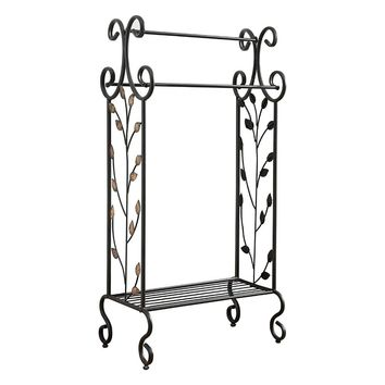 Benzara Gold Leaves Metal Towel Rack Stand With Shelf, Black