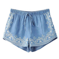 High Waist Drawstring Denim Shorts
