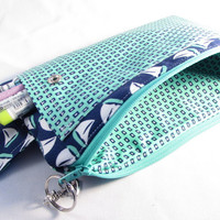 Large Pencil Case, Blue, Green Sailboats Ready To Ship