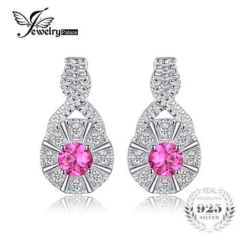 JewelryPalace Trendy 0.43ct Round Created Ruby Stud Earrings 925 Sterling Silver Luxury Brand Vintage Jewelry Earrings For Women