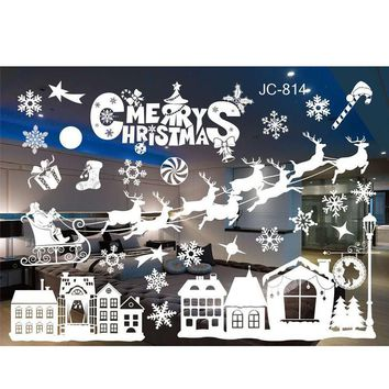 Merry Christmas Window Stickers PVC Removable Xmas Tree Snowflakes Wall Sticker Glass Decal Mural New Year Christmas Decoration