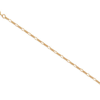 """9"""" + 1"""" 14/20 Gold Filled Figaro Chain Anklet"""