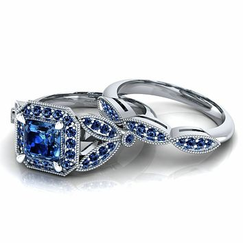 Museum 2.54CT Princess Cut Blue Sapphire Russian Lab Diamond Halo Bridal Set