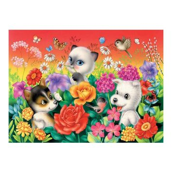 5D Diamond Painting Puppies and Kittens Flower Play Kit