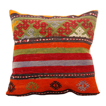 FOR HOME, Kilim Pillow Cover 20x20 Turkish Kilim Pillow, Striped Design, Modern, Traditional, Vintage Pillow, Decorative Pillow- AY612141017