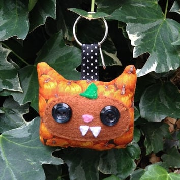 Pumpkin Monster keychain by LoonaCreations on Etsy