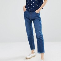 Monki Cropped Flare Frey Hem Jean at asos.com