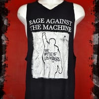 Unisex RAGE AGAINST the MACHINE oversize tank top customised band t shirt  Punk Metal Hippie Rocker Rock