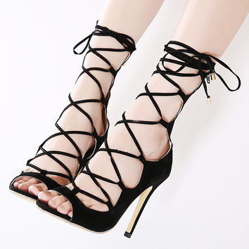 Women Lace Up Ankle Strap  Shoes