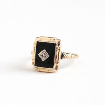 Vintage 10k Rosy Yellow Gold Black Onyx and Diamond Ring - Art Deco 1930s Size 6 1/4 Black Rectangular Gemstone Etched Fine Jewelry