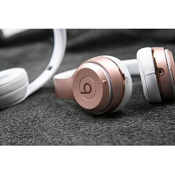 Beats Solo 3 Wireless Magic Wireless Bluetooth Headphone Microphone Line In Jack TF Card Slot F Rose gold