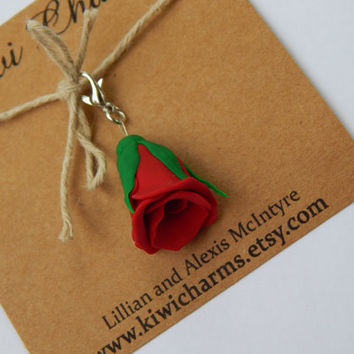 Beautiful Red Rose Charm Key Chain Dust Plug Gift