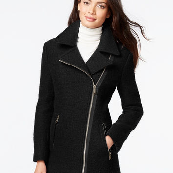 Calvin Klein Petite Asymmetrical-Zip Wool Coat