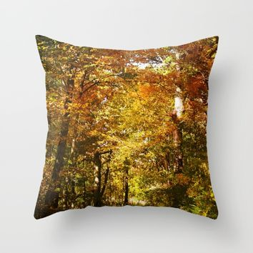 Woods Lake Trail Throw Pillow by Theresa Campbell D'August Art