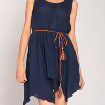 Pixie Linen Belted Dress in Navy