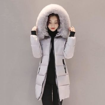 New Fashion Women Winter Jacket With Fur collar Warm Hooded Female Womens Winter Coat Long Parka Outwear Camperas