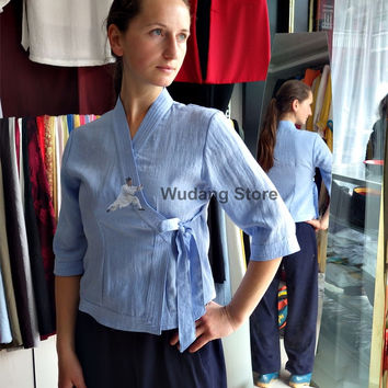 Tender Blue Overlap Collar Tai Chi Shirt for Women