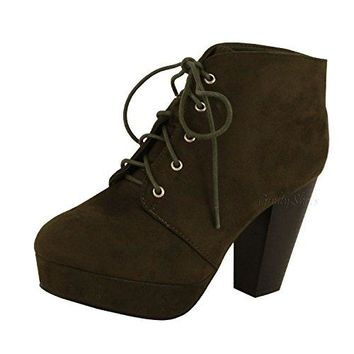 Guilty Shoes - Sian Bootie Chunky Lace up Chunky High Heel Platform Ankle Boots