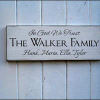 Custom Family Names In God We Trust Sign