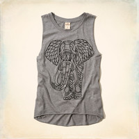 Elephant Glitter Graphic Tank