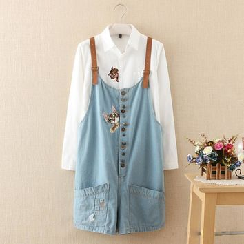 autumn winter new funny female cats embroidery pattern denim jeans overalls women sus