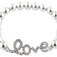 "2 Pieces of Silvertone Metal Beaded ""Love"" Bracelet with Rhinestones"