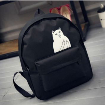 Cute Cat Canvas Backpack Black