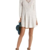 Long Sleeve Crochet Shift Dress by Charlotte Russe