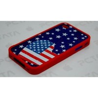 Red, White, and Blue American Flag Heart Design Hard Case For Apple iPhone 4S / 4 (AT&T, Verizon, Sprint)