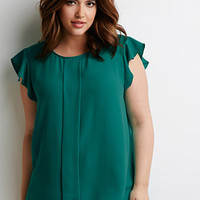 Flutter-Sleeve Pleated Top