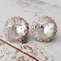 Clear crystal earrings,Bridal earrings,Stud earrings,Bridesmaid earrings,wedding jewelry,white wedding,crystal earrings,Swarovski earrings