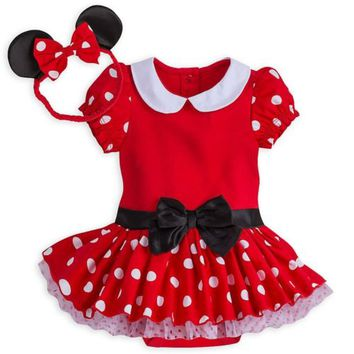 Disney Store Authentic Minnie Mouse Baby Costume & Headband 3 6 9 12 18 Months