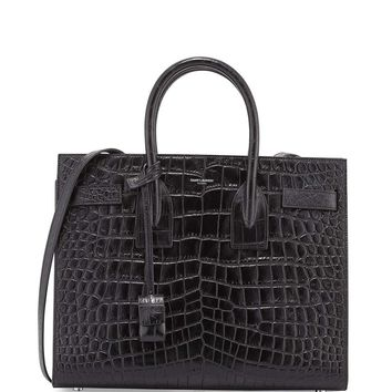 Sac de Jour Small Croc-Stamped Satchel Bag, Black