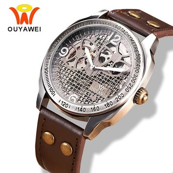 OUYAWEI Steampunk Skeleton Wrist Watch Men Vintage Retro Leather Automatic Mechanical Dropshipping Watches with Original Box