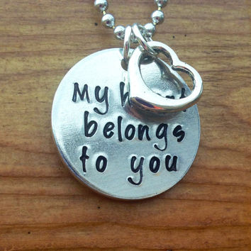 My heart belongs to you  Hand Stamped by KennabelleDesigns on Etsy