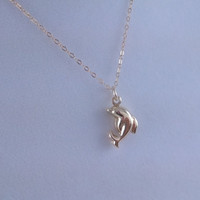 Vermeil Gold Dolphin Necklace- 14k Gold Filled chain