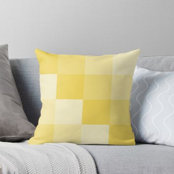 'Four Shades of Yellow Square' Throw Pillow by ShelleyYlstArt