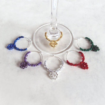 Wine Glass Charms , Set Of Six , Beaded Metallic Tatting - Clemence
