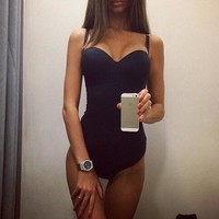Fashion Solid Color Sling One Piece Swimsuit Swimwear