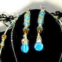Hand Crafted Artisan Up-cycled Vintage Fimo Earrings & Glass Beaded Necklace Set