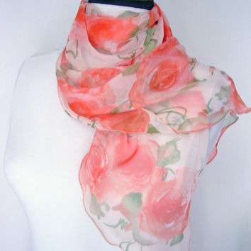 Orange scarf, Orange flowers, Orange decor, Woman scarf, Floral shawl, Viscose scarf, Fashion scarf, Beautiful scarfs, Rose scarf, Mom Gift