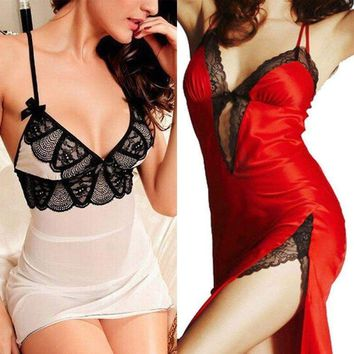 Lady Women's Sexy Lingerie Sleepwear Backless Dress Babydoll Nightwear Nightgown
